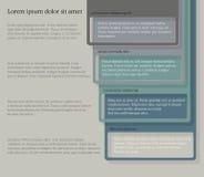 Quatre éléments consécutifs de cadre avec un bon nombre de pièce pour le texte et les descriptions Photo stock
