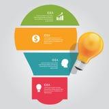 Quatre 4 éléments des affaires graphiques d'ampoule de vecteur de chevauchement de diagramme d'infos d'idée brillent Photo libre de droits