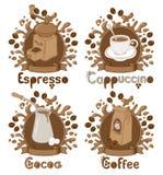 Quatre éléments sur le thème de café illustration stock