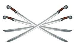 Quatre épées de cavalerie circassiennes nues d'isolement sur le blanc Photo stock