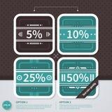 Quatre étiquettes de prix discount carrées dans le rétro style EPS10 Illustration Libre de Droits