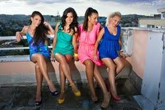 Quatre amies de femmes Image libre de droits