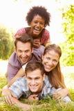 Quatre amis ayant l'amusement ensemble dans la campagne Images stock