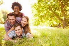 Quatre amis ayant l'amusement ensemble dans la campagne Photos stock