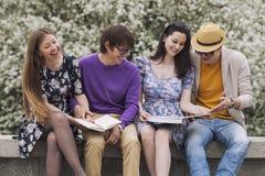Quatre amis en parc avec des livres Images libres de droits