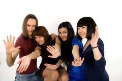 Quatre amis heureux Photo libre de droits