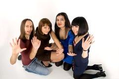 Quatre amis heureux Image libre de droits