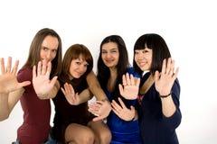Quatre amis heureux Photo stock