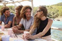 Quatre amis s'asseyant à une table par la mer regardent à l'appareil-photo Photo libre de droits