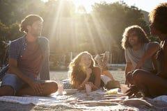 Quatre amis s'asseyant dans une rangée à une table par la mer, Ibiza Photos libres de droits