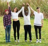 Quatre amis sur le champ de campagne Photo libre de droits