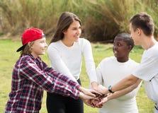 Quatre amis sur le champ de campagne Image stock