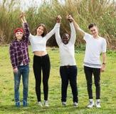 Quatre amis sur le champ de campagne Photographie stock libre de droits