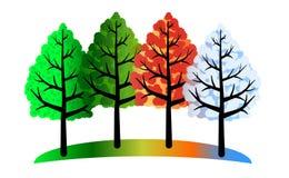 Quatre arbres de saisons illustration stock