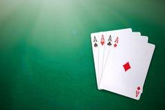 Quatre as sur la table de casino Photographie stock libre de droits