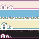 Quatre bannières avec des maisons. Photos stock