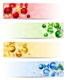 Quatre bannières avec les boules colorées de Noël Vecteur EPS-10 Image libre de droits