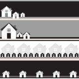 Quatre bannières de gamme de gris avec des maisons. Image libre de droits