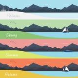 Quatre bannières de saisons avec la forêt et les montagnes Photo stock