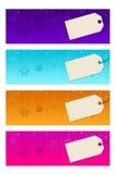 Quatre bannières defferent avec des labels photographie stock
