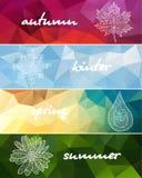 Quatre bannières horizontales de saisons Photo libre de droits