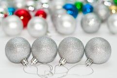 Quatre billes grises de Noël Photo libre de droits