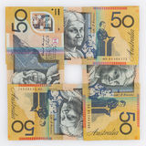 Quatre 50 billets d'un dollar australiens dans une disposition carrée Photo stock