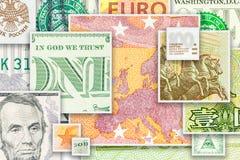 Quatre billets de banque principaux de devises du monde en collage carré Photographie stock