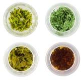 Quatre bols de thé vert Image stock