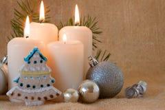 Quatre bougies d'arrivée. Images libres de droits
