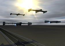 Quatre bourdons d'arme à feu (le soleil) Images libres de droits