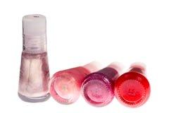 Quatre bouteilles de vernis à ongles Images libres de droits