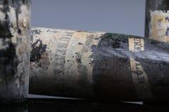 Quatre bouteilles de vin de Murfatlar très vieilles Photos libres de droits