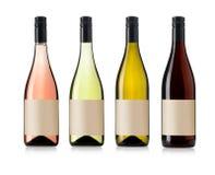 Quatre bouteilles de vin réglées Photographie stock libre de droits