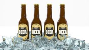 Quatre bouteilles en verre de bière illustration de vecteur