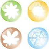 Quatre boutons de saisons photographie stock