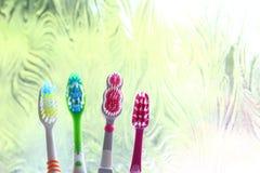 Quatre brosses à dents dans la lumière de matin d'une fenêtre obscurcie Photo stock