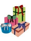 Quatre cadeaux de Noël Photo stock