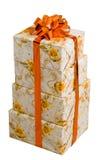 Quatre cadres de beaux cadeaux. Photos stock