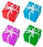 Quatre cadres de cadeau colorés Image stock