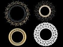 Quatre cadres de tableau vides d'or décoratif de cru Images libres de droits