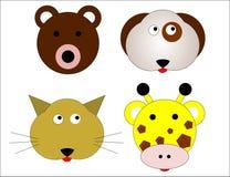 Quatre caractères animaux - ours, chien, chat et girafe Images stock