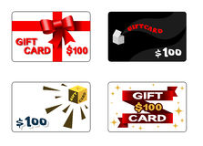 Quatre cartes cadeaux Photos stock