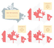Quatre cartes canadiennes Photos libres de droits