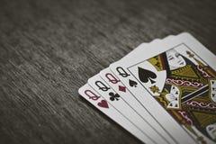 Quatre cartes de Queens abrégé sur jeu de risque Images libres de droits