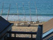 Quatre catamarans sur une remorque images stock