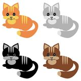 Quatre chats gentils sur le blanc Photo libre de droits