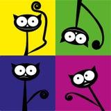 Quatre chats noirs différents Image stock