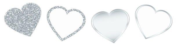 Quatre coeurs argentés miroitant et brillant illustration stock