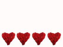 Quatre coeurs rouges Photographie stock libre de droits